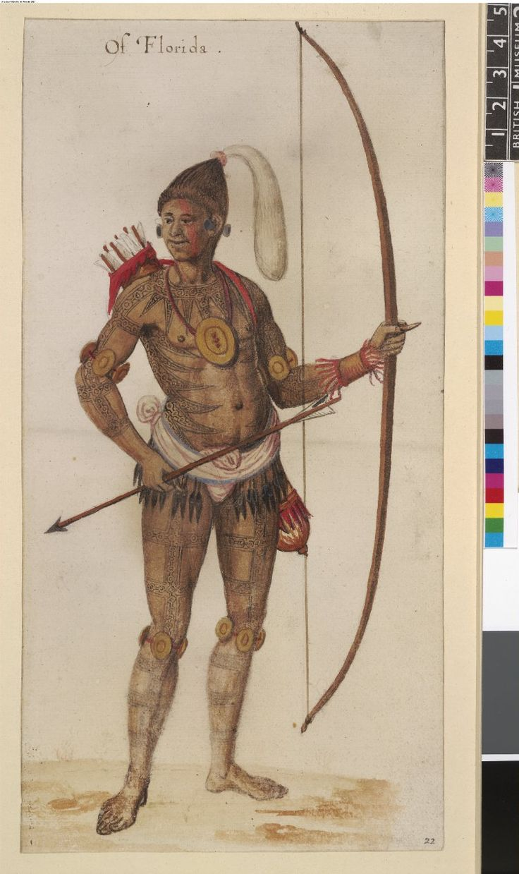A Timucuan chief of Florida, after Jacques Le Moyne; with painted marks, plume in hair, quiver, bow and arrow, wearing circular brass (?) gorgets - John White(1585-1593).Первые изображения коренных американцев