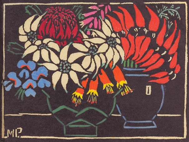 Margaret Preston  Woodblock  'Sturt's Desert Pea' 1925 - and Actinotus (flannel flower), Blandfordia (Christmas bells), Teleopea (waratah)...