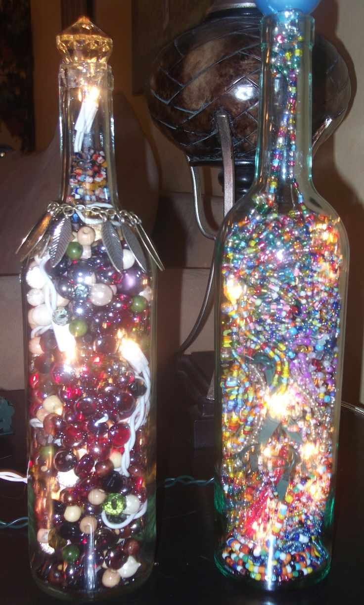 decorative wine bottles with lights inside i made very