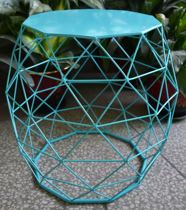 Sky Blue Designer Table - triangular pattern in a bright pop of colour to liven any living space. | #bluetable | #designertable | #sidetable | #triangular | #kidstable | #philbee