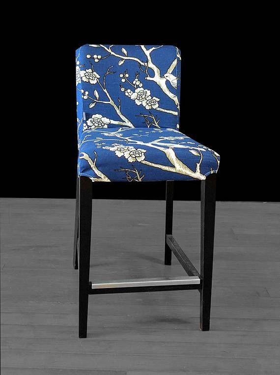 Navy Blue Flower Birds IKEA HENRIKSDAL Chair Cover