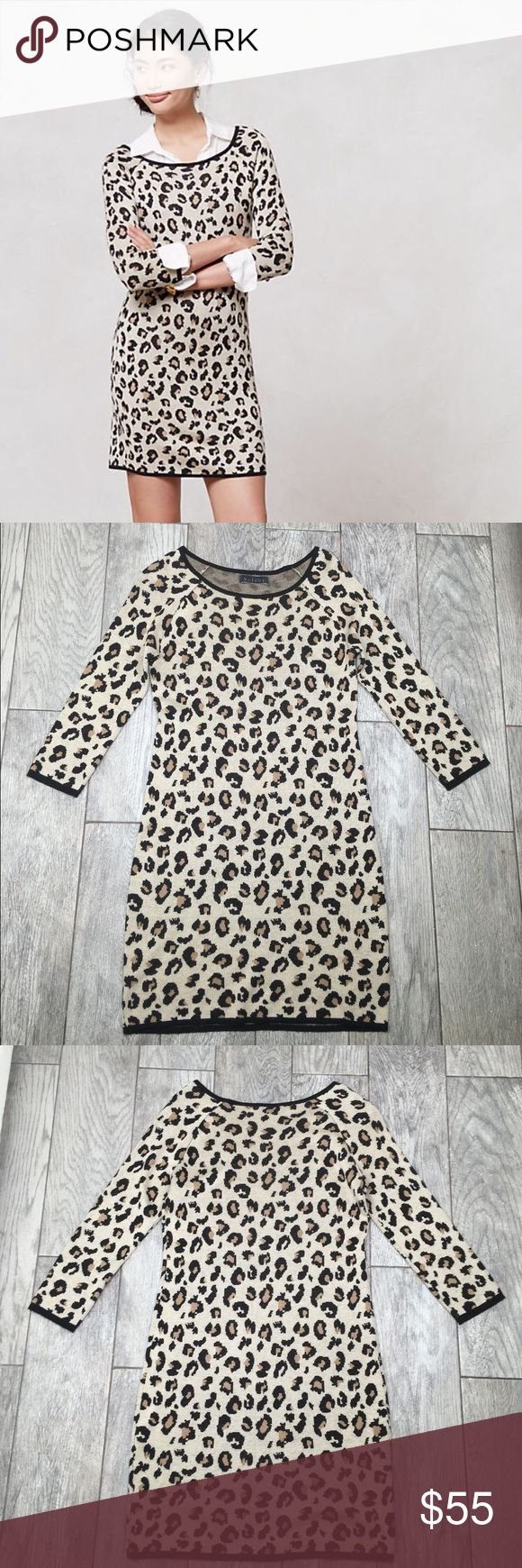 Anthropologie Velvet Leopardo sweater dress S Anthropologie Velvet brand Leopardo sweater dress. Cute and stylish leopard print. Super soft!! Pullover style, 3/4 sleeve. Really cute with a white collared shirt underneath as seen in model pic, or pair with booties! EUC- no flaws. Size small Anthropologie Dresses