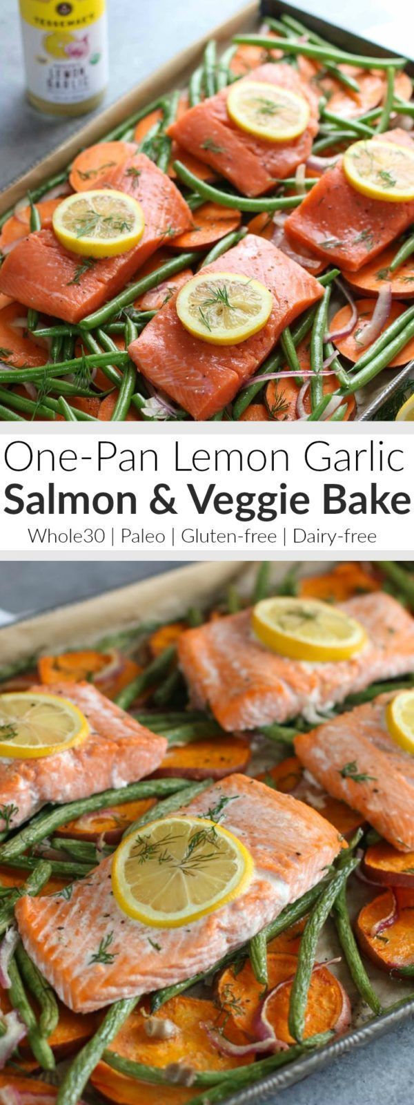 Make life easier this week with our Lemon Garlic One-Pan Salmon and Veggie Bake. Just one pan and minimal clean up! Whole30 | Gluten-free | Dairy-free | Paleo | http://therealfoodrds.com/one-pan-salmo (Gluten Free Recipes Fish)