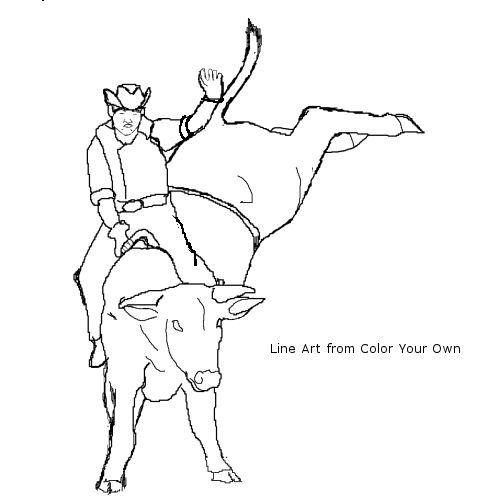 Cowboy On Bucking Bull Line Art Color HorsesRodeo