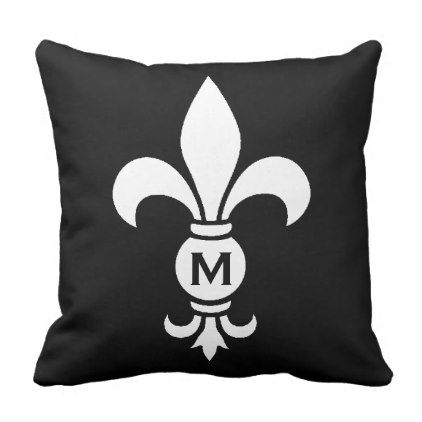 #Fleur De Lis Monogram Simple Modern Minimalist Throw Pillow - #white #simple