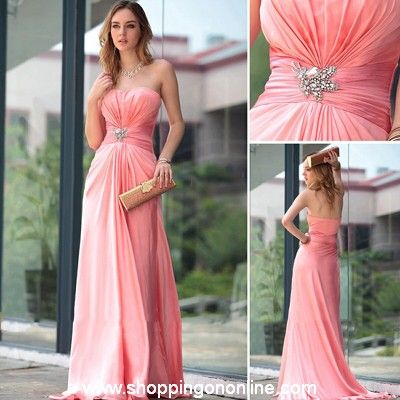 Pink Evening Gown - Sexy Strapless Beaded $195.99 (was $230) Click here to see more details http://shoppingononline.com/custom-made-dresses/pink-evening-gown-sexy-strapless-beaded.html #PinkEveningGown #SexyEveningGown #PinkBeadedEveningGown #CustomMadeDress