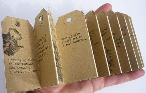 concertina book by Philippa Wood --  his vs hers simple pleasures. what a clever idea and presentation.