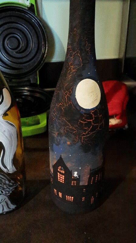 Halloween bottle decoration!