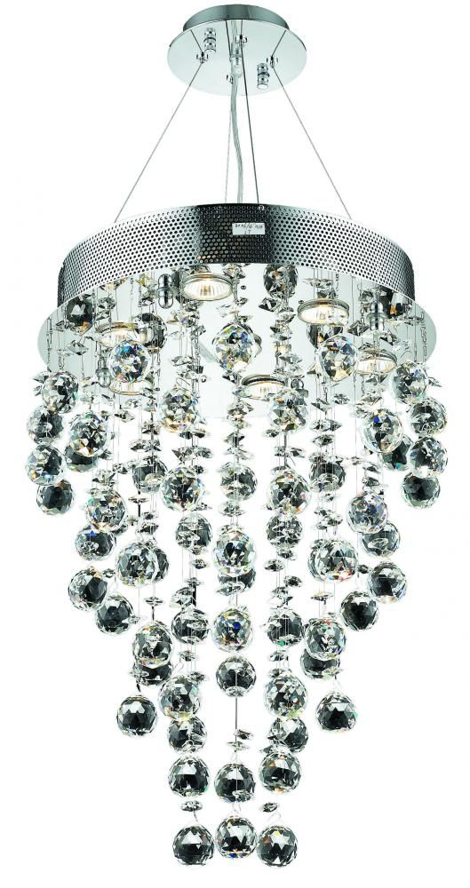 2006 Galaxy Collection Pendant D:16in H:24in Lt:7 Chrome Finish (Royal Cut Crystals)