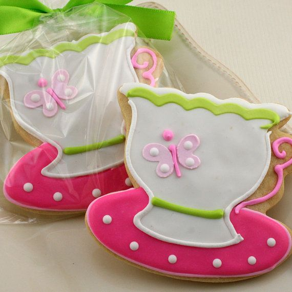 Tea cup Cookie Favors 12 cookies bagged and bowed by TSCookies,