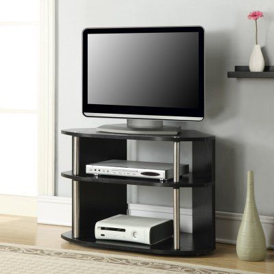 Convenience Concepts Designs2Go™ Swivel TV Stand - Black and Stainless Steel - 151283LO