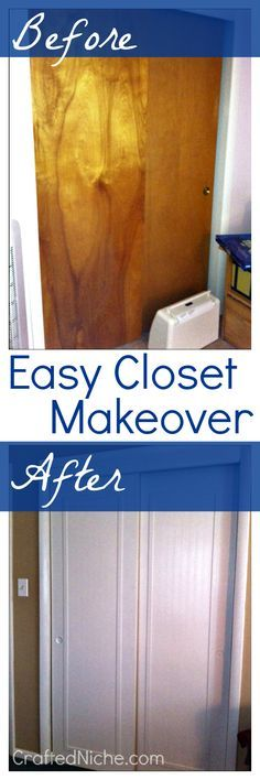 EASY sliding closet door makeover. Don't replace the old ones... just give them an upgrade! { DIY at CraftedNiche.com }