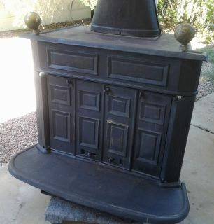 Antique Montgomery Ward Cast Iron Wood Burning Stove Rare Barn Find Wood Paneling Makeover