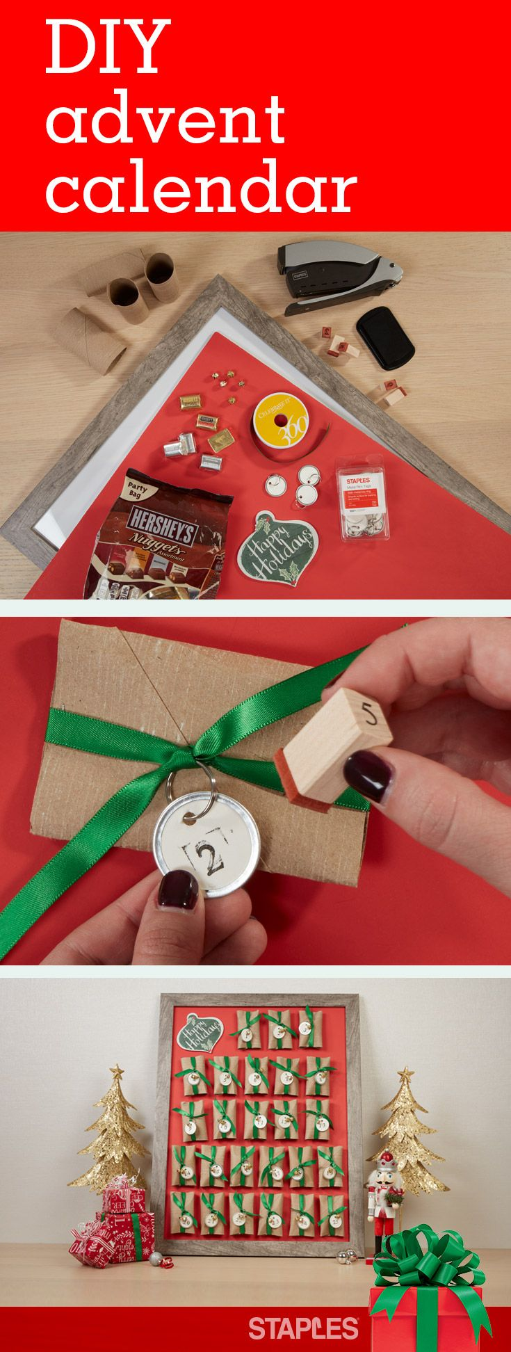 Make counting down to the holidays even more fun with this interactive idea for your home or office. This festive, easy DIY advent calendar and its daily treats are sure to make you a holiday success and spread cheer. Check out the items you'll need.