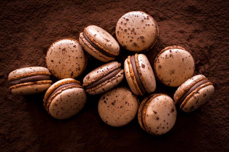Macarons with milk Valrhona chocolate ganache.