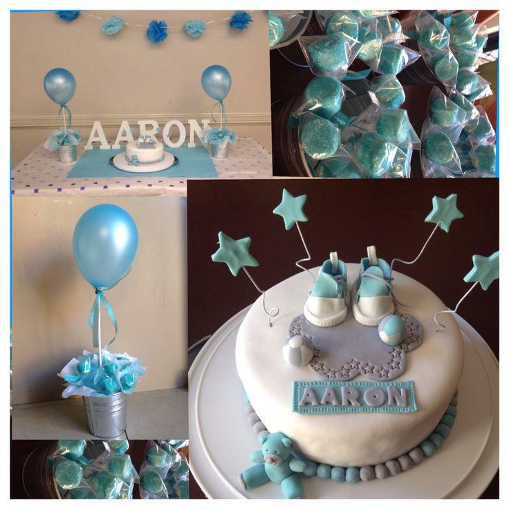 Baby boy baptismal cake and decor