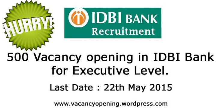 "About IDBI Bank Ltd.  IDBI Bank Ltd., a company within the meaning of the Companies Act, 2013, having majority share holding by Government of India, is a leading provider of complete range of retail and corporate banking services to its clients.  How to Apply:  Candidates to go to the Bank""s website http://www.idbi.com and click on the ""CAREERS' to open the link ""Recruitment of Executives"" and then click on the option ""APPLY ONLINE"" which will open a new screen.  Instructions  Candidates…"