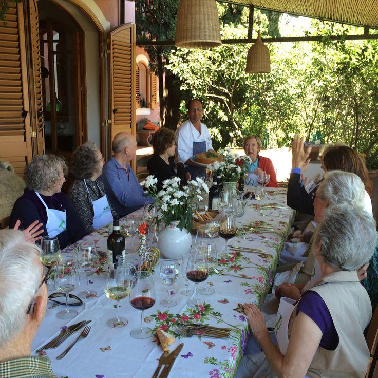 Sicilian cooking class - lunch on main terrace at villa Britannia Taormina . The chef bringing out the timballlo - Villa Britannia bed and breakfast Taormina