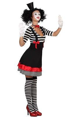 Clown Kostüm Harlekin Pierrot Narr Pantomime Kleid Gr. S M L