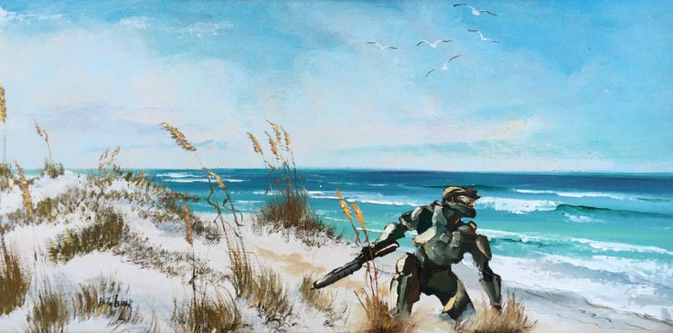 The Halo Spartan Supersoilder is enjoying a day at the beach in this Halo painting.