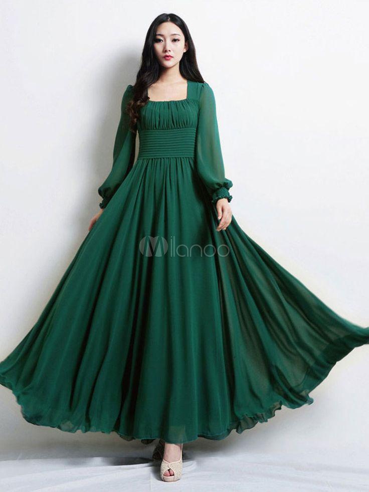 Beautiful Dark Green Square Neck Pleated Chiffon Maxi Dress for Woman – Milanoo….