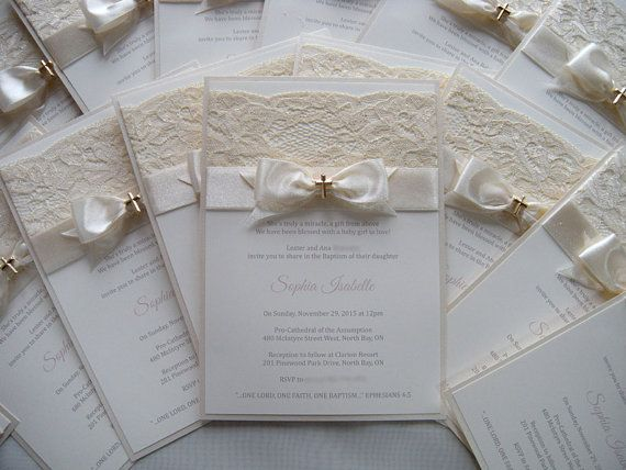 ~~~~ Invitation details ~~~~  Listing price includes the following:  Invitation 5 x 8 the base is double layered champagne pearl paper 285g/m2 cream ribbon, gold cross Invitation Envelope    Original handmade Christening Invitation decorated with gold cross, lovely lace & ribbon.  How to order: Please, send me all details about Christening / Baptism/ First Communion  + Name of child + Date, time and place of baptism / christening + RSVP information + any other informat...