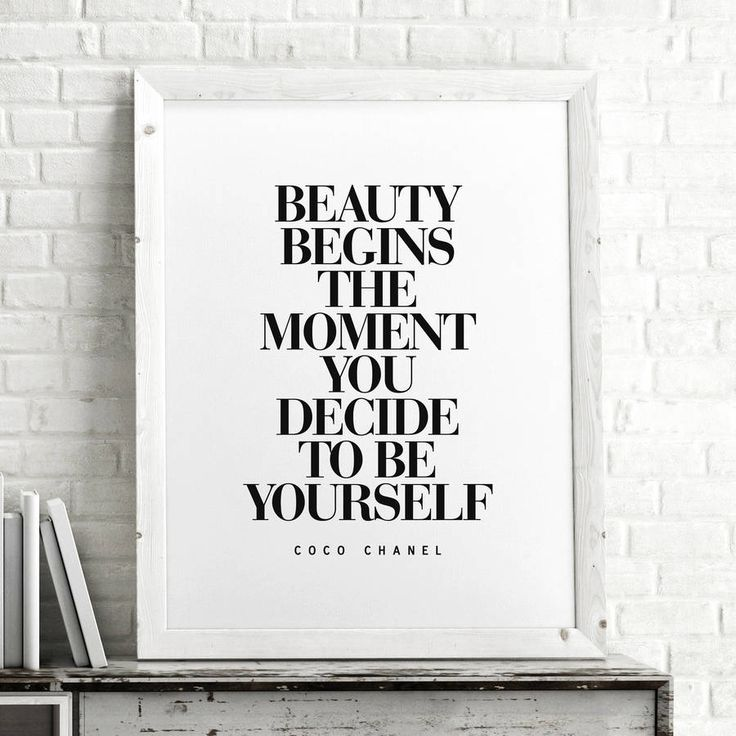 Beauty Begins the Moment You Decide to Be Yourself http://www.notonthehighstreet.com/themotivatedtype/product/coco-chanel-fashionista-art-typography-print Limited edition, order now!