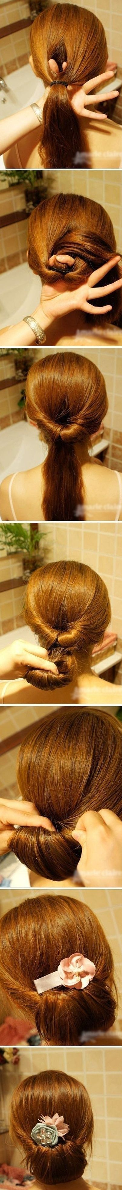 Prev5 of 5Next Easy bun hairstyle: Source @ Prev5 of 5Next