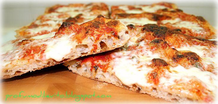 Più che sulla ricetta, voglio porre l'attenzione sulla conduzione dell'impasto, la cui modalità porta ad ottenere una pizza in teglia bass...