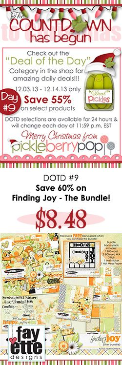 DOTD #9 is waiting for you in the shop! Save 60% on FINDING JOY - The Bundle! (you really need to get this one...definitely one of my faves!) This one is a steal at just $8.48 for the entire bundle - and it has FREE stuff with the bundle download! Grab it quick...it's only available for 24 hours!