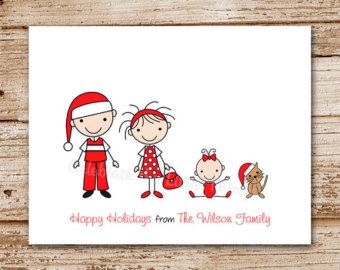 Personalized family christmas cards stick family for Unique family christmas cards
