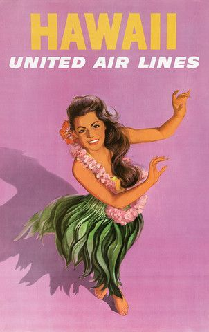 Hawaii hula dancer. Vintage Hawaii travel poster for United Air Lines, circa 1960. A young woman wearing a lei and in a grass skirts performs a hula dance.