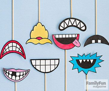 Smiles can be infectious, especially when you have a collection of silly mouth masks to share. For each, use markers to draw a mouth on card stock. Cut out the shape, then tape a thin dowel to the back. Originally published in the May 2015 issue of FamilyFun magazine.