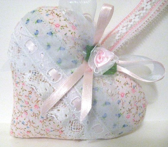 VALENTINE Sachet Heart PINK Tiny Floral Fabric by CharlotteStyle, $10.00