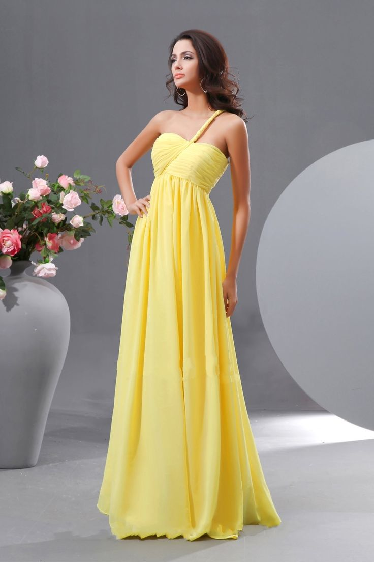 15 best yellow bridesmaid dress images on pinterest yellow one shoulder yellow chiffon long bridesmaid dress ombrellifo Gallery