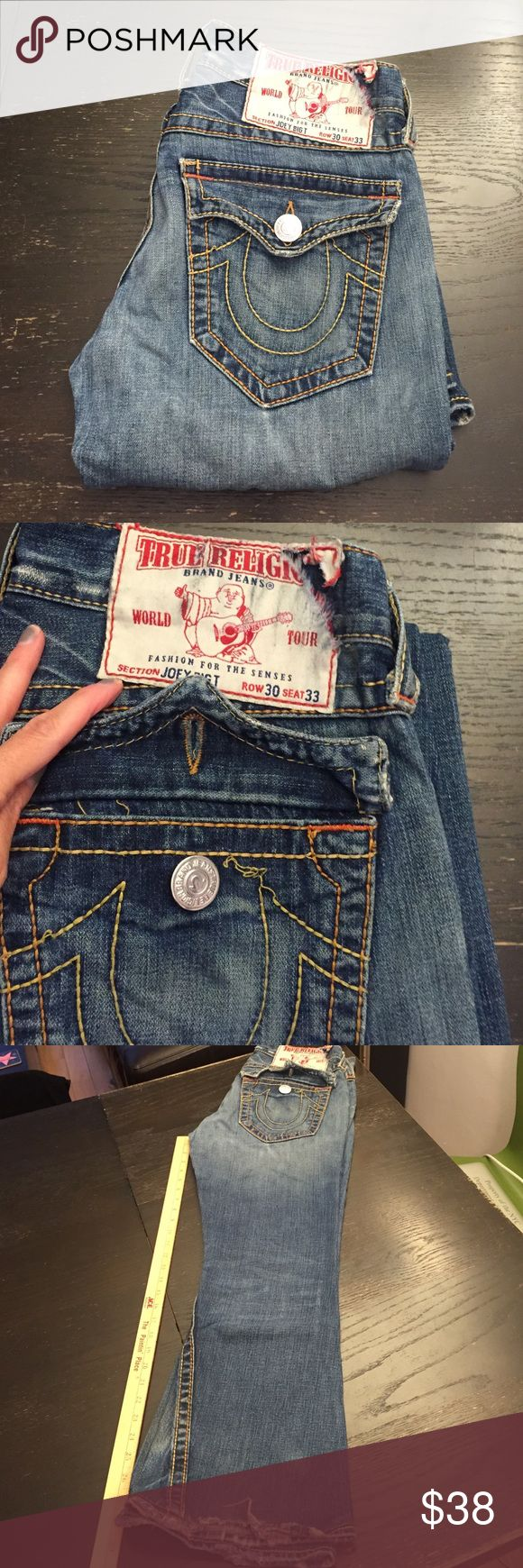 "True Religion Jeans Joey Big T Size 30 Men's. Cigs professionally reattached to 29"" inseam. Slight damaged as shown on pics 2 and 4. Purchased at atrium NYC True Religion Jeans Flare & Wide Leg"
