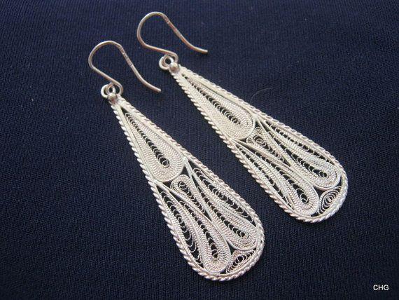 Handmade Sterling Silver Filigree Drop Earrings. by TrulyFiligree