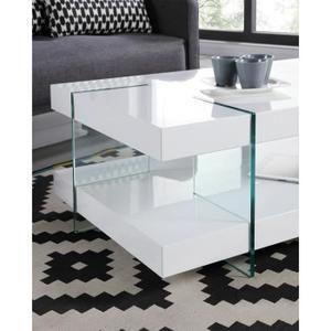 120x60x38cm - 2 plateaux - Pieds en verre trempé transparent - Laqué blanc brillant
