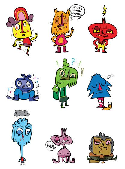 These are characters that Jon burgerman sketched, I really like the way he sketches. He has designed these characters in adobe illustrator. He always uses the same techniques with his work which I like. The thing I like about this is that his characters look fun and creative.