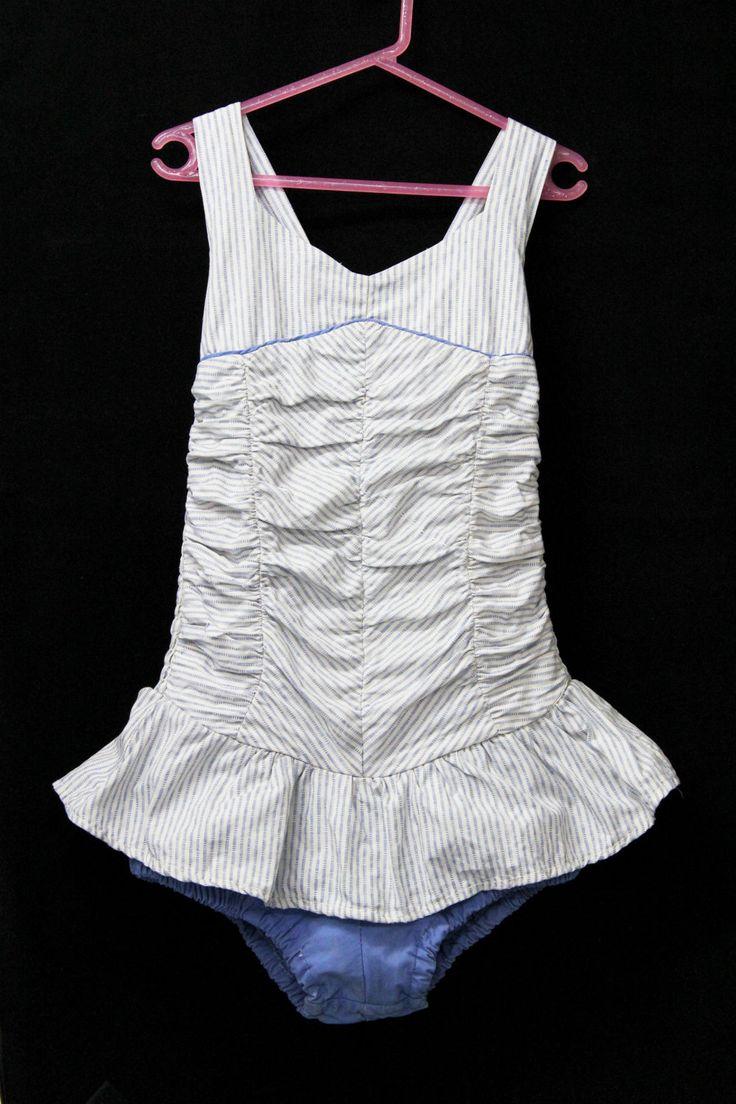 1950s Swimmers Girls Size 8 Shirred Blue Cotton Button Strap Skirt VGC by KittysVintageKitsch on Etsy