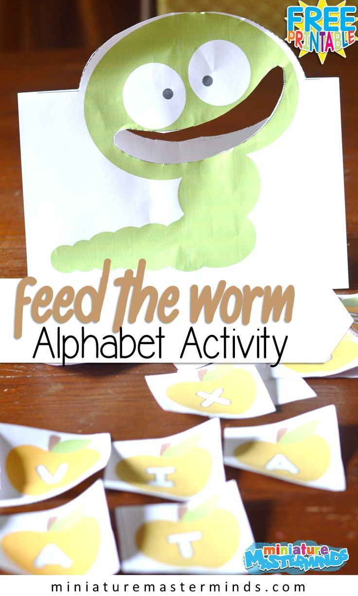 Feed The Worm Upper And Lower Case Preschool Printable Alphabet