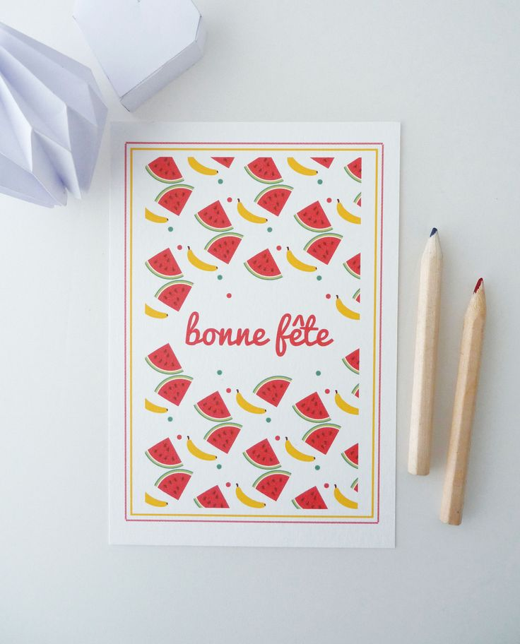 """Carte postale """"Bonne fête"""" illustrée de pastèques et de bananes : Cartes par papierpapier"""