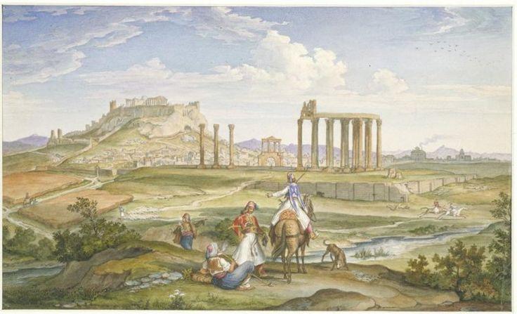 Johann M. Wittmer (1802-1880): Άποψη της Aθήνας από τον Iλισσό, 1833. Έξοχη αποτύπωση ενός οριστικά πλέον χαμένου ιστορικού τοπίου. Yδατογραφία