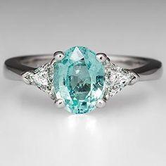 Paraiba Color Cuprian Tourmaline Engagement Ring Platinum - love this colour