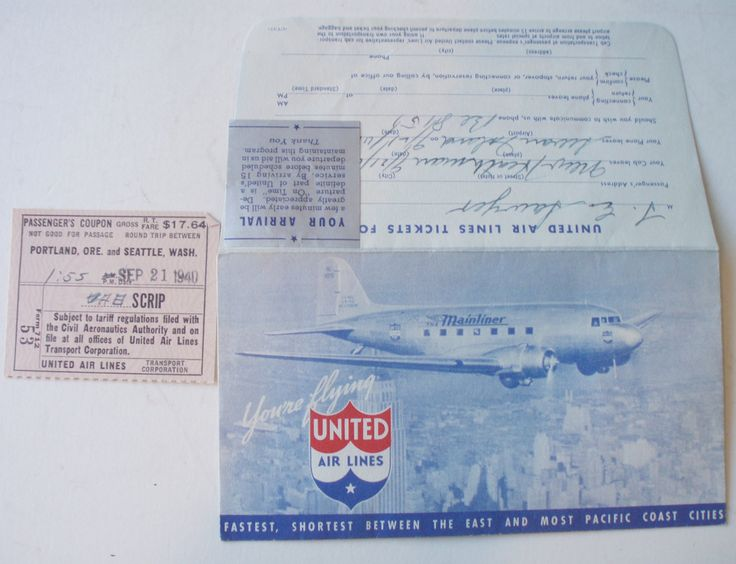 UNITED AIRLINES 1940 TICKET AND ENVELOPE Business class