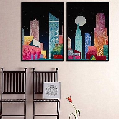 Color Building  Framed Canvas Print Set of  2 – GBP £ 38.68