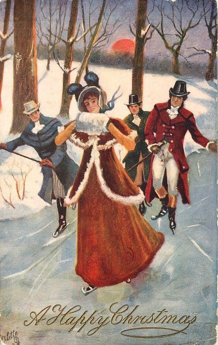 """Lady and three men ice-skating"" - vintage"