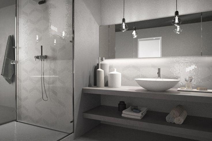 Mosaico+ Decor Collection - Rumble Grey  #mosaicopiu #glassmosaic #glass #mosaic #mosaico #vetro #bathroom #shower #bagno #doccia #parete #wall #decoration #interiordesign #interior #design #madeinitaly