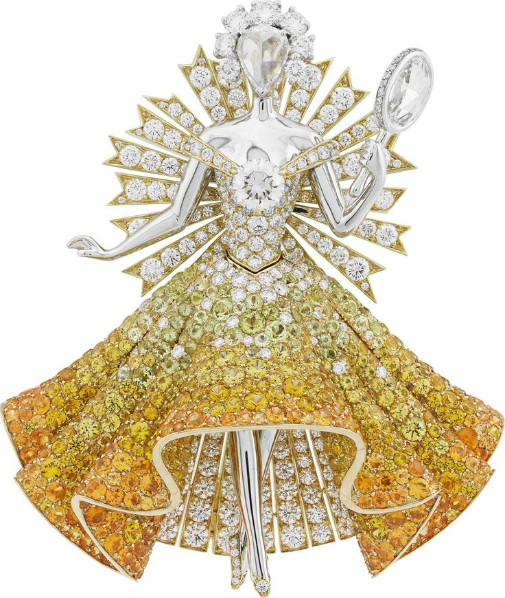 Van Cleef & Arpels Peau d'Âne collection white and yellow gold Sun Dress Brooch with white and yellow diamonds, spessartite garnets, tourmalines and yellow sapphires