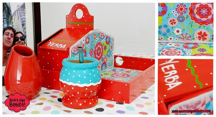 juego de mate Rojo+turquesa pintado por Quiero Algo Bonito!!